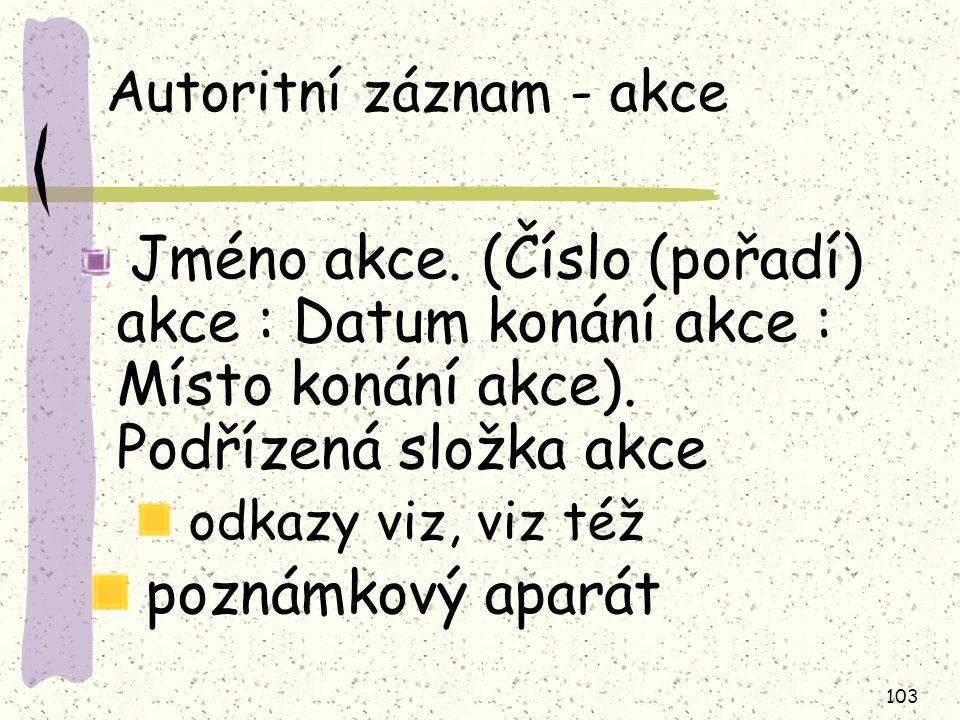 Autoritní záznam - akce