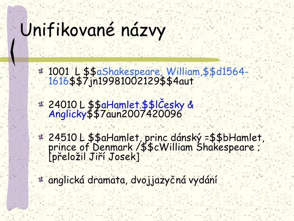 Unifikované názvy 1001 L $$aShakespeare, William,$$d1564-1616$$7jn19981002129$$4aut. 24010 L $$aHamlet.$$lČesky & Anglicky$$7aun2007420096.