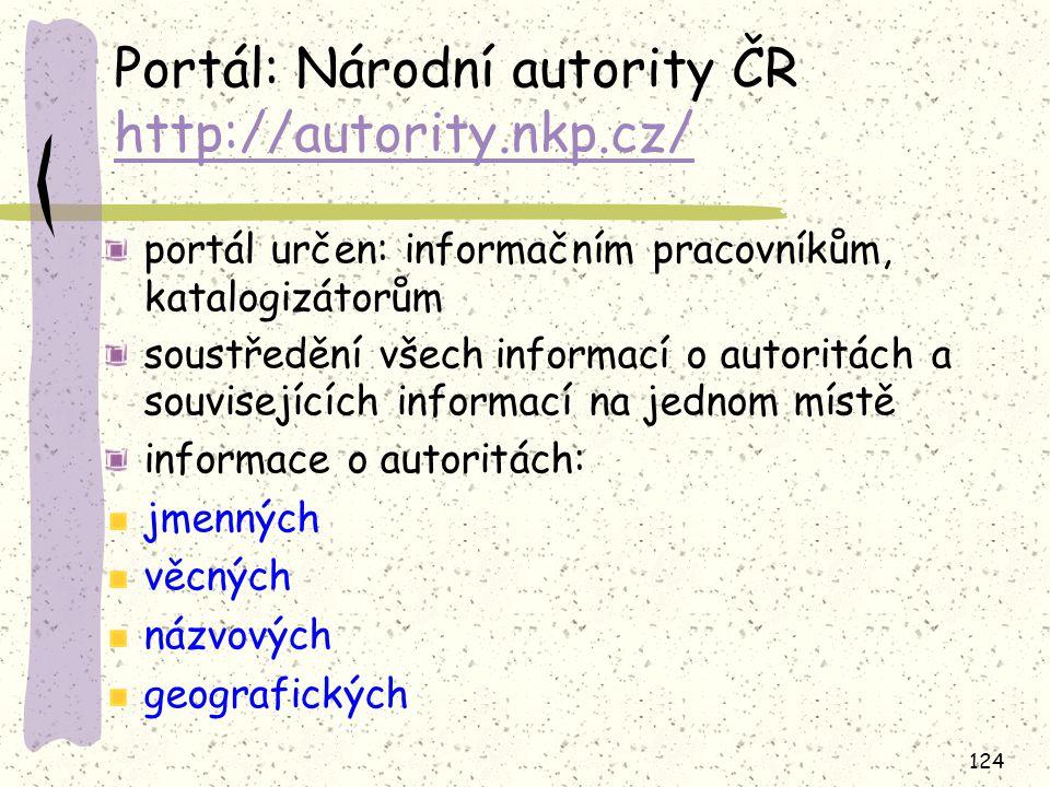 Portál: Národní autority ČR http://autority.nkp.cz/