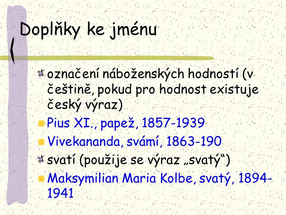 Doplňky ke jménu označení náboženských hodností (v češtině, pokud pro hodnost existuje český výraz)