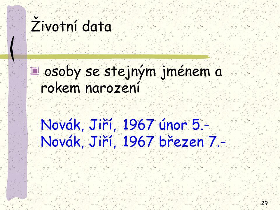 Životní data Novák, Jiří, 1967 únor 5.- Novák, Jiří, 1967 březen 7.-