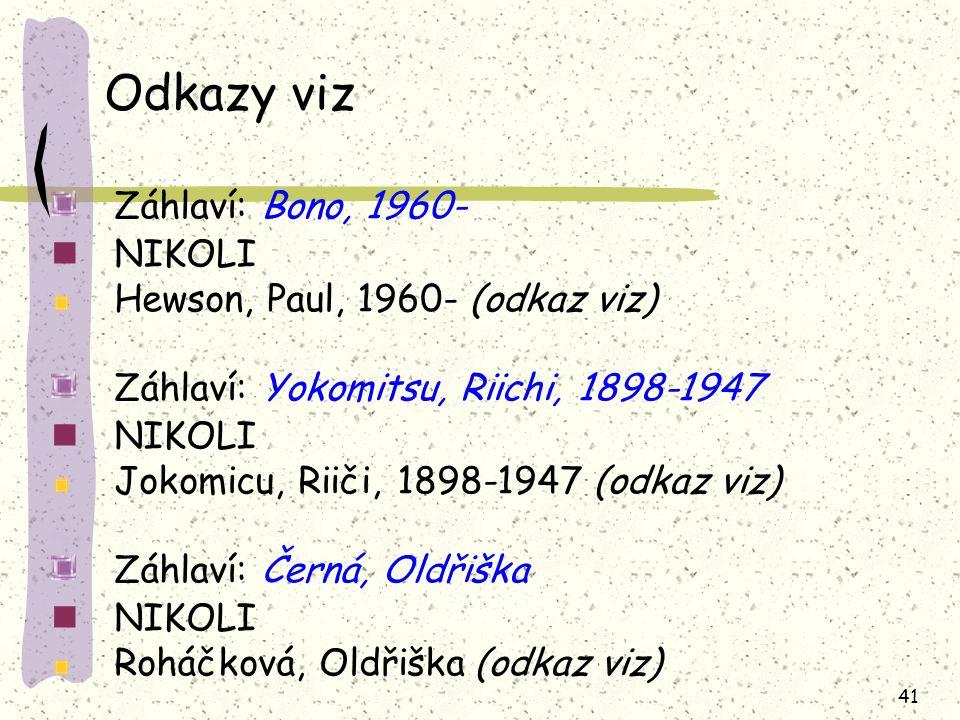 Odkazy viz Záhlaví: Bono, 1960- NIKOLI Hewson, Paul, 1960- (odkaz viz)