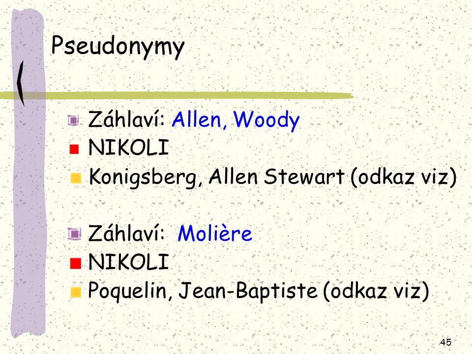 Pseudonymy Záhlaví: Allen, Woody NIKOLI