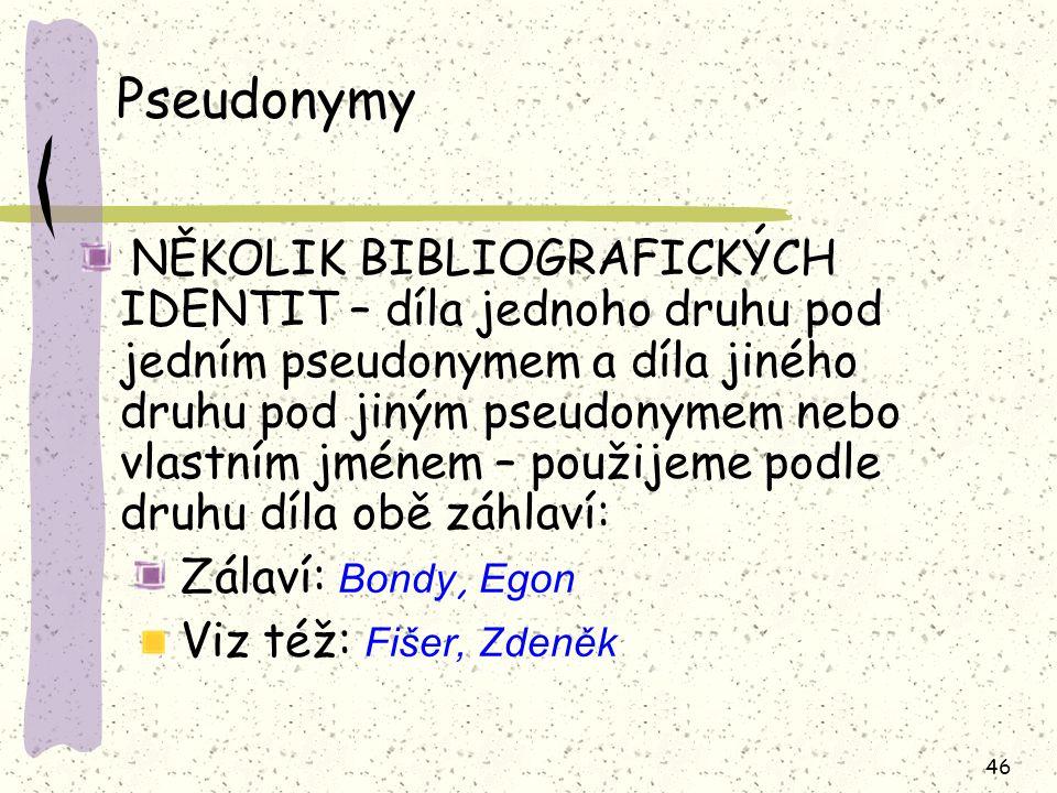 Pseudonymy Zálaví: Bondy, Egon Viz též: Fišer, Zdeněk