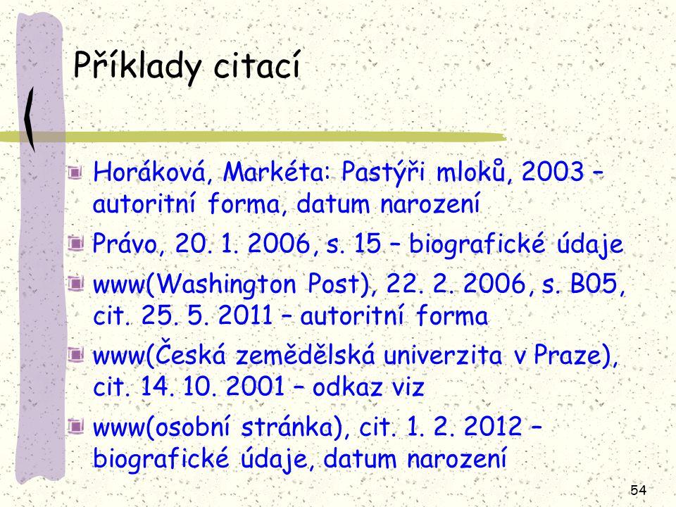Příklady citací Horáková, Markéta: Pastýři mloků, 2003 – autoritní forma, datum narození. Právo, 20. 1. 2006, s. 15 – biografické údaje.