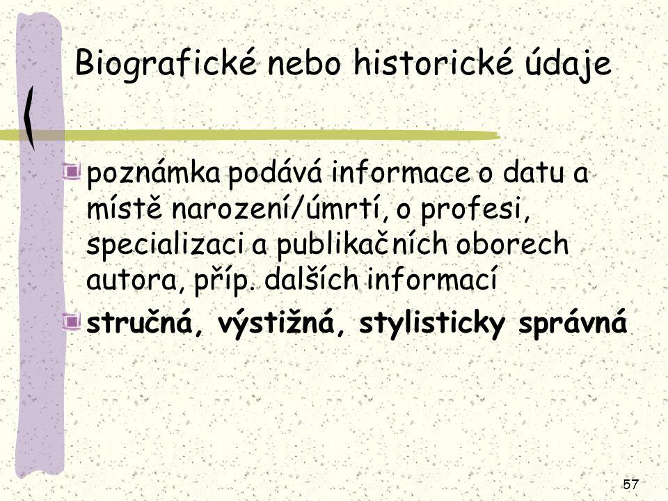 Biografické nebo historické údaje