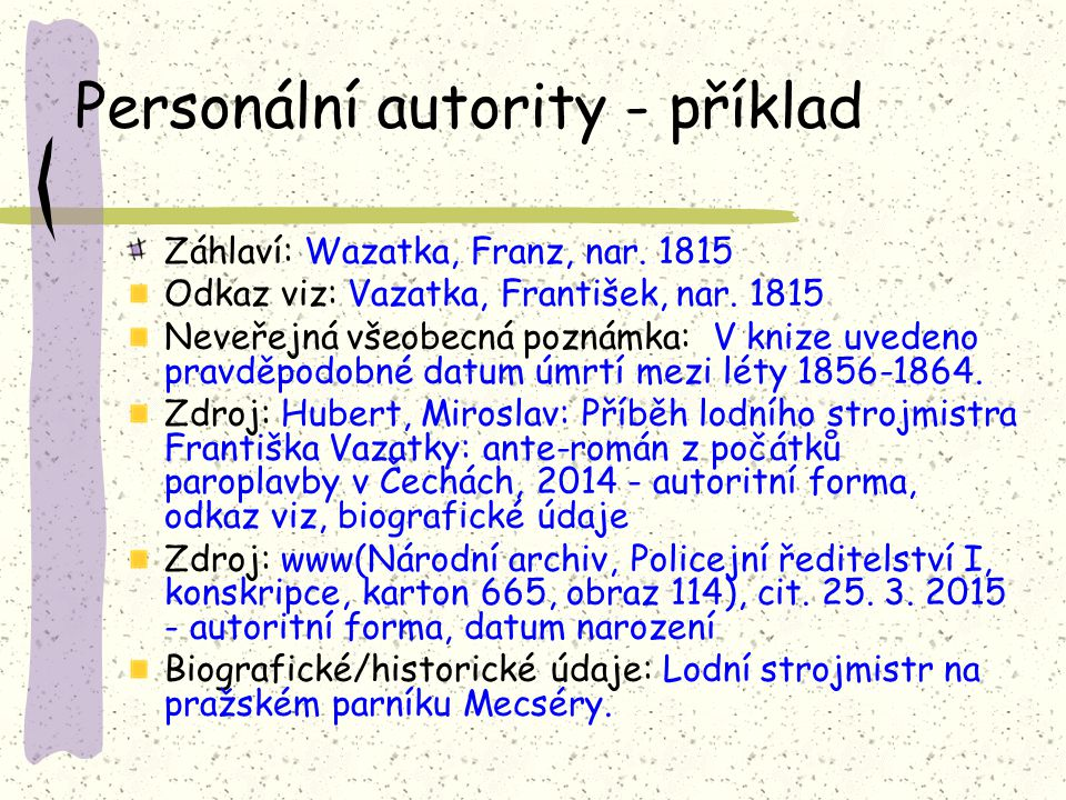 Personální autority - příklad