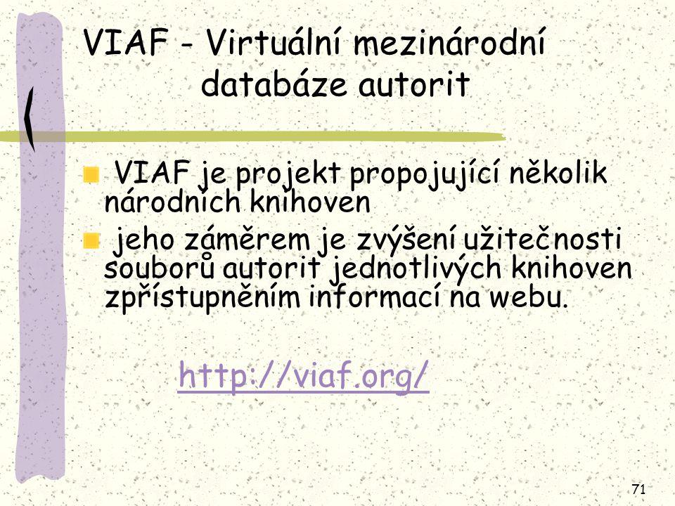 VIAF - Virtuální mezinárodní databáze autorit