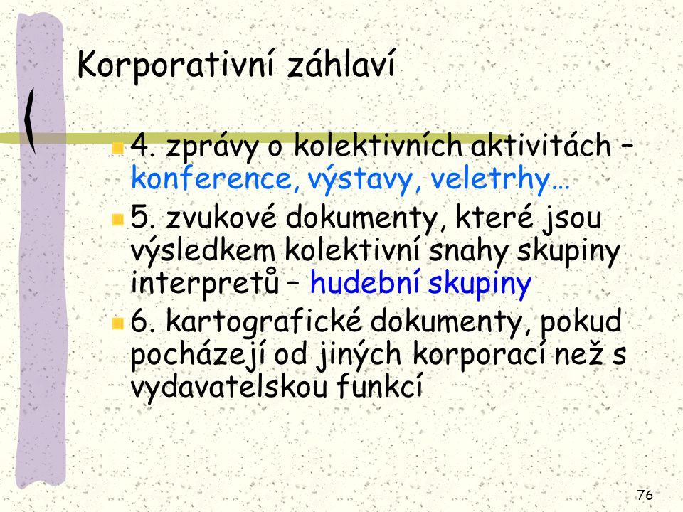Korporativní záhlaví 4. zprávy o kolektivních aktivitách – konference, výstavy, veletrhy…