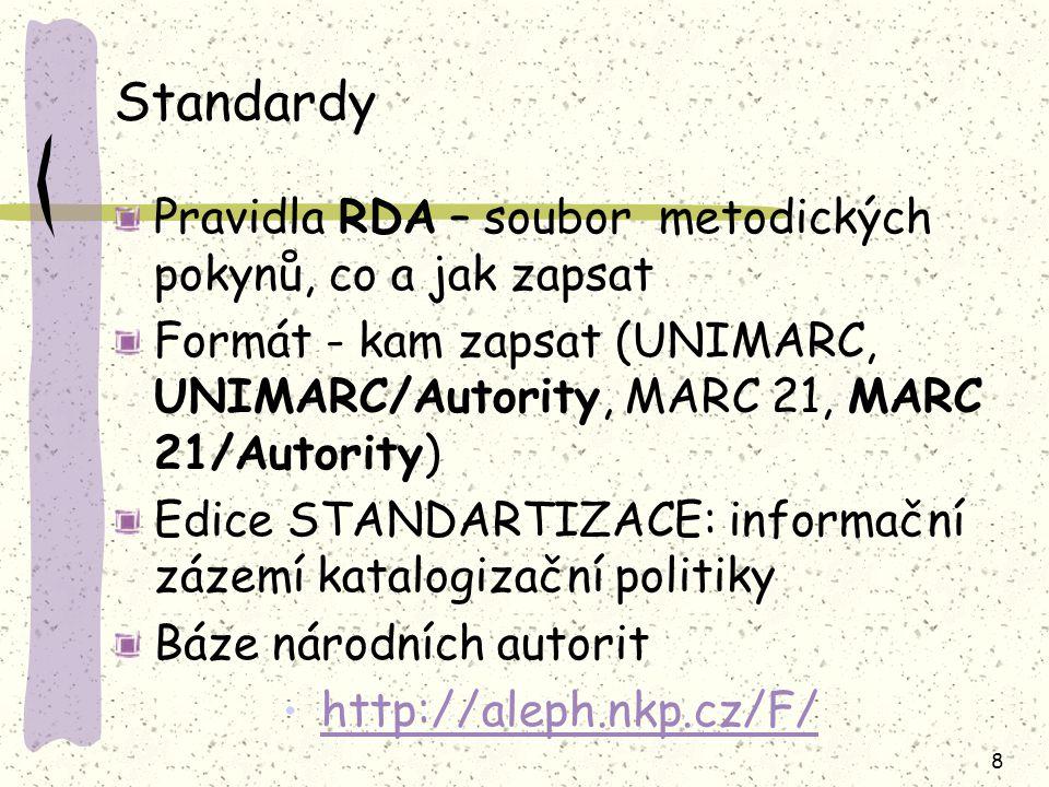 Standardy Pravidla RDA – soubor metodických pokynů, co a jak zapsat