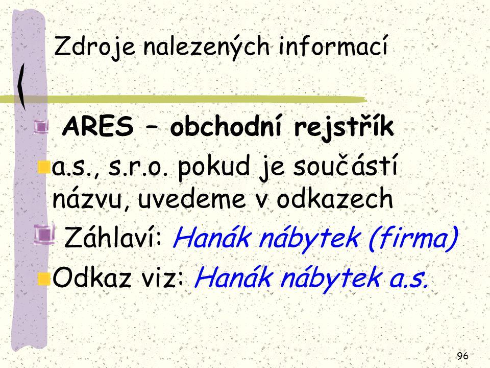 Zdroje nalezených informací