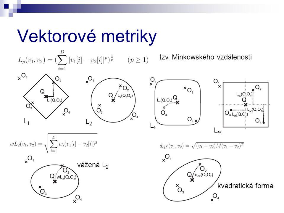 Vektorové metriky tzv. Minkowského vzdálenosti L1 L2 L5 L∞ vážená L2