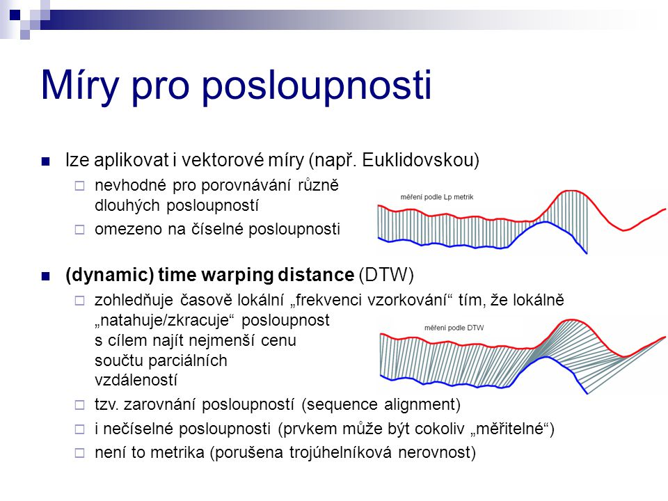 Míry pro posloupnosti lze aplikovat i vektorové míry (např. Euklidovskou) nevhodné pro porovnávání různě dlouhých posloupností.