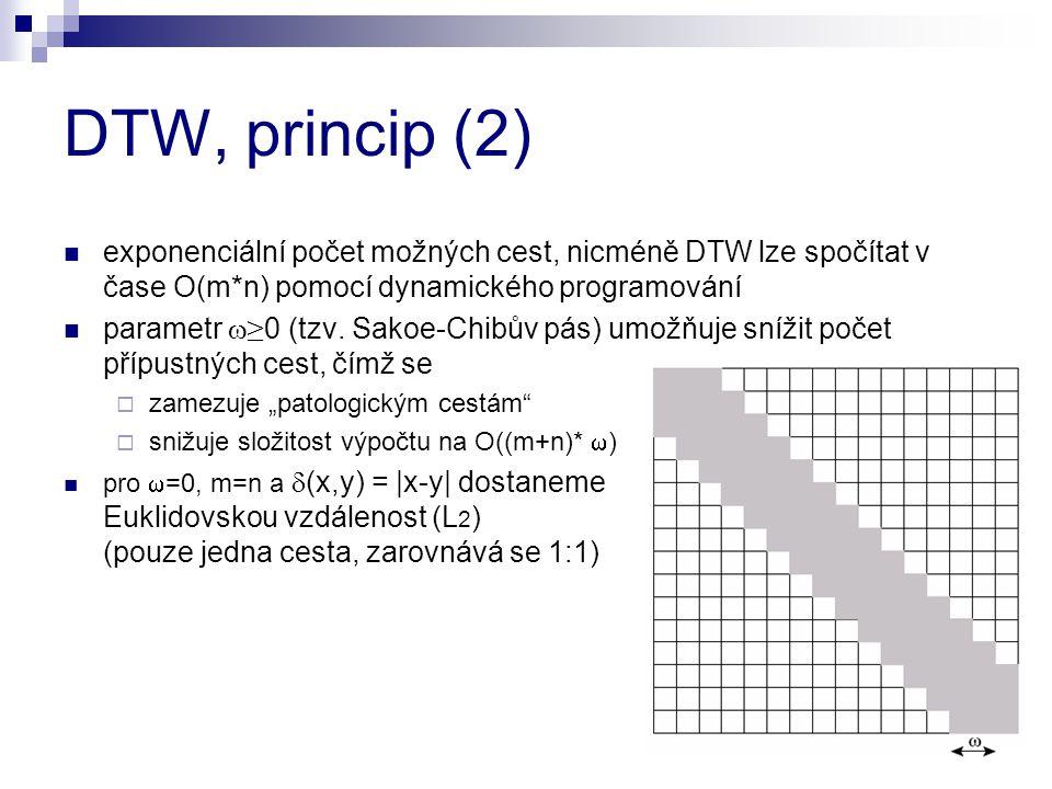 DTW, princip (2) exponenciální počet možných cest, nicméně DTW lze spočítat v čase O(m*n) pomocí dynamického programování.