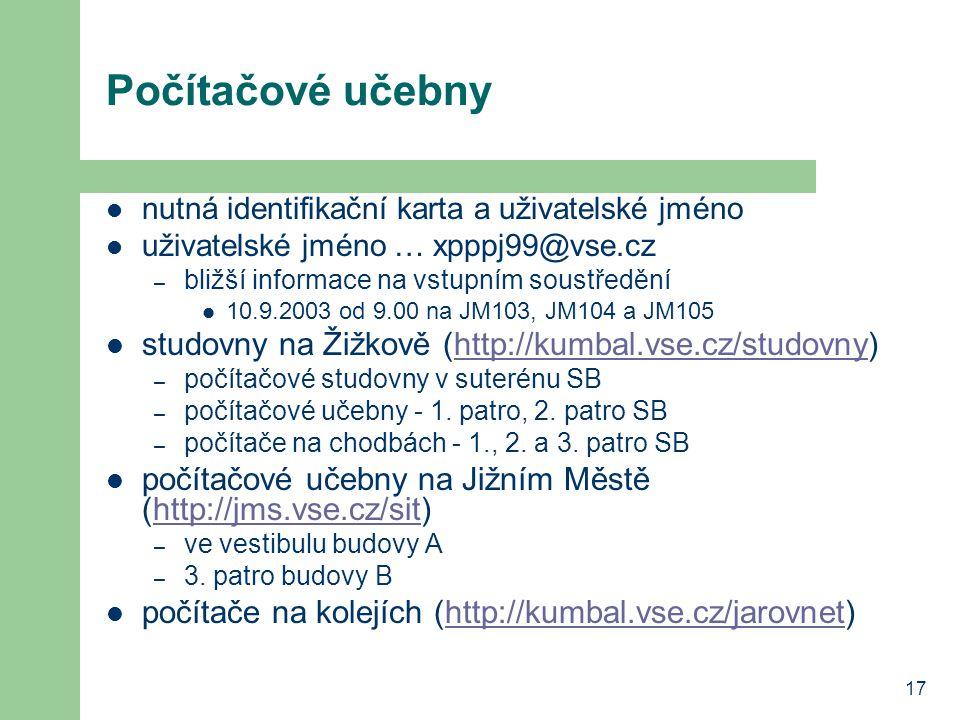 Počítačové učebny studovny na Žižkově (http://kumbal.vse.cz/studovny)