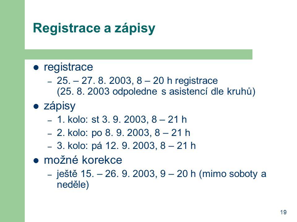Registrace a zápisy registrace zápisy možné korekce