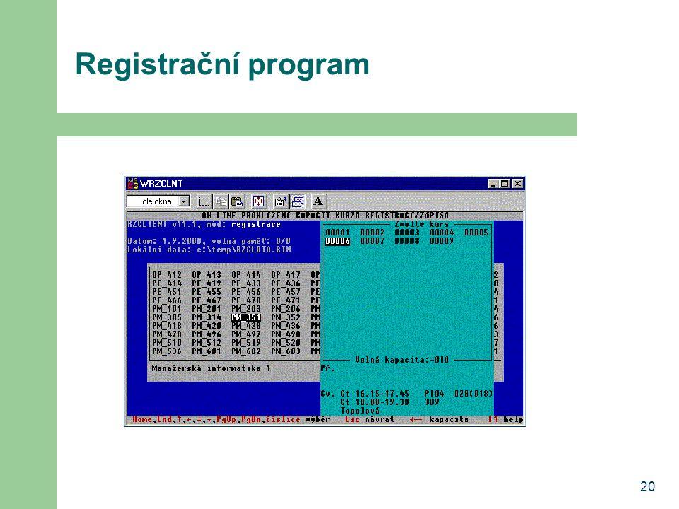 Registrační program 20