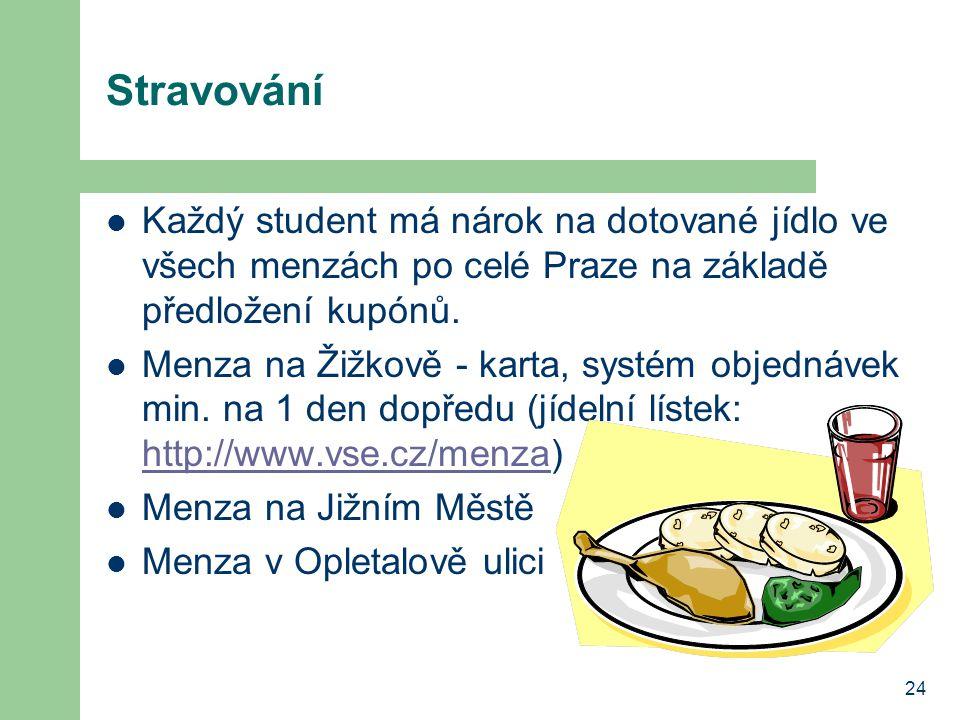 Stravování Každý student má nárok na dotované jídlo ve všech menzách po celé Praze na základě předložení kupónů.