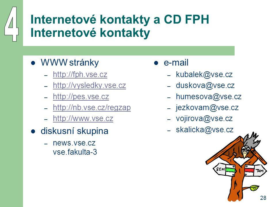 Internetové kontakty a CD FPH Internetové kontakty