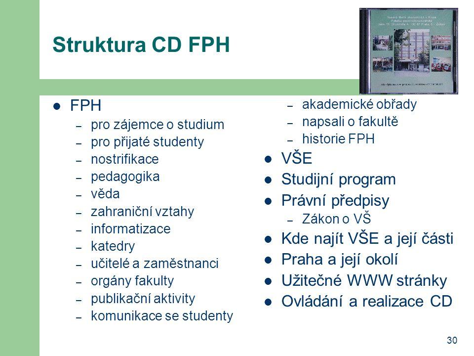 Struktura CD FPH FPH VŠE Studijní program Právní předpisy
