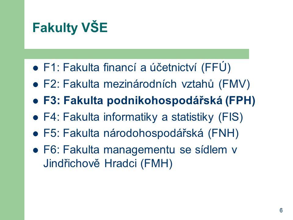 Fakulty VŠE F1: Fakulta financí a účetnictví (FFÚ)