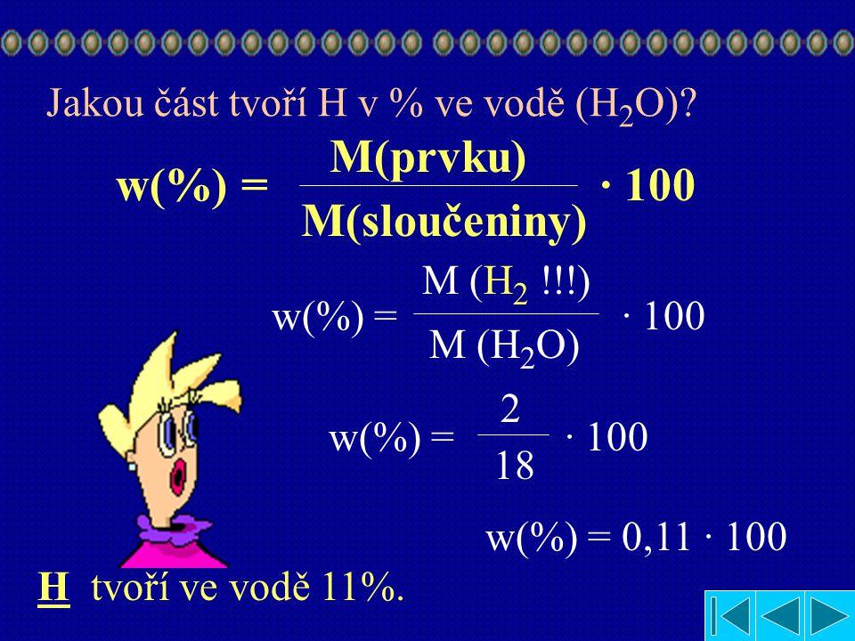M(prvku) w(%) = · 100 M(sloučeniny)