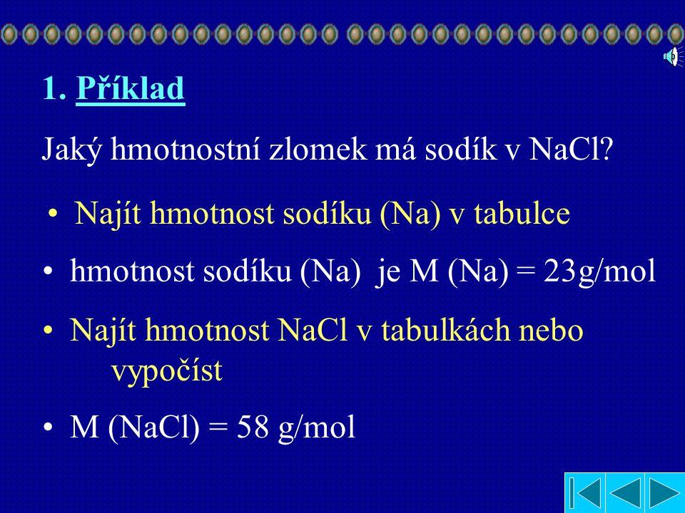 Příklad Jaký hmotnostní zlomek má sodík v NaCl