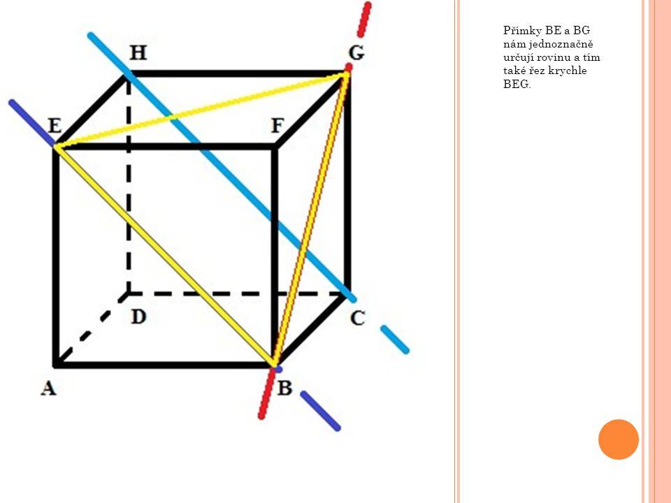 Přímky BE a BG nám jednoznačně určují rovinu a tím také řez krychle BEG.