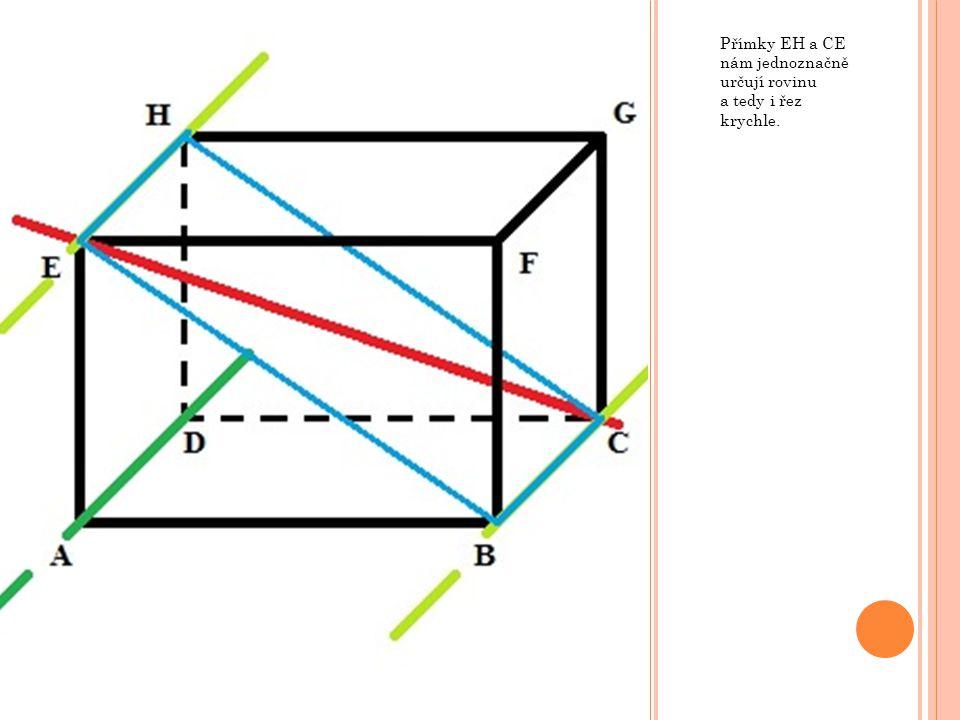 Přímky EH a CE nám jednoznačně určují rovinu a tedy i řez krychle.