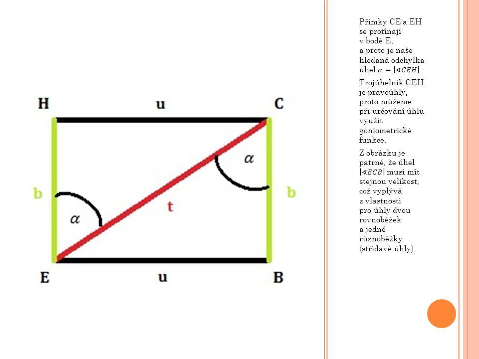 Přímky CE a EH se protínají v bodě E, a proto je naše hledaná odchylka úhel 𝛼= ∢𝐶𝐸𝐻 .