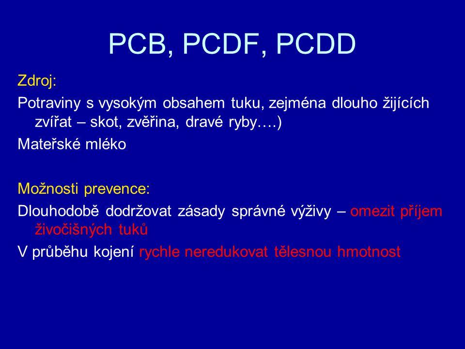 PCB, PCDF, PCDD Zdroj: Potraviny s vysokým obsahem tuku, zejména dlouho žijících zvířat – skot, zvěřina, dravé ryby….)