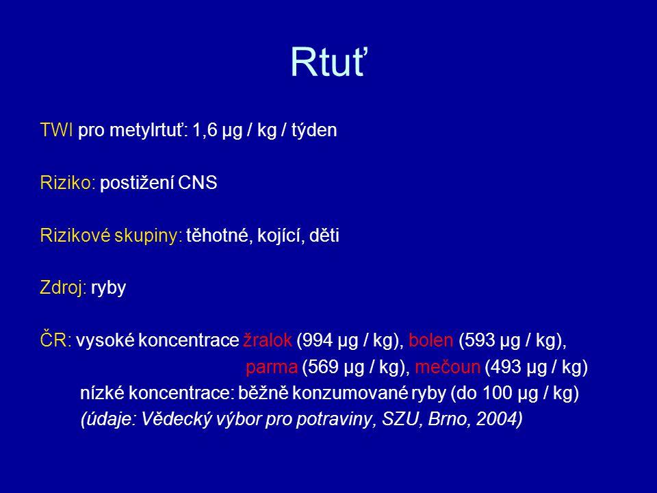 Rtuť TWI pro metylrtuť: 1,6 µg / kg / týden Riziko: postižení CNS