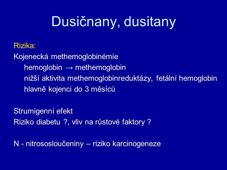 Dusičnany, dusitany Rizika: Kojenecká methemoglobinémie
