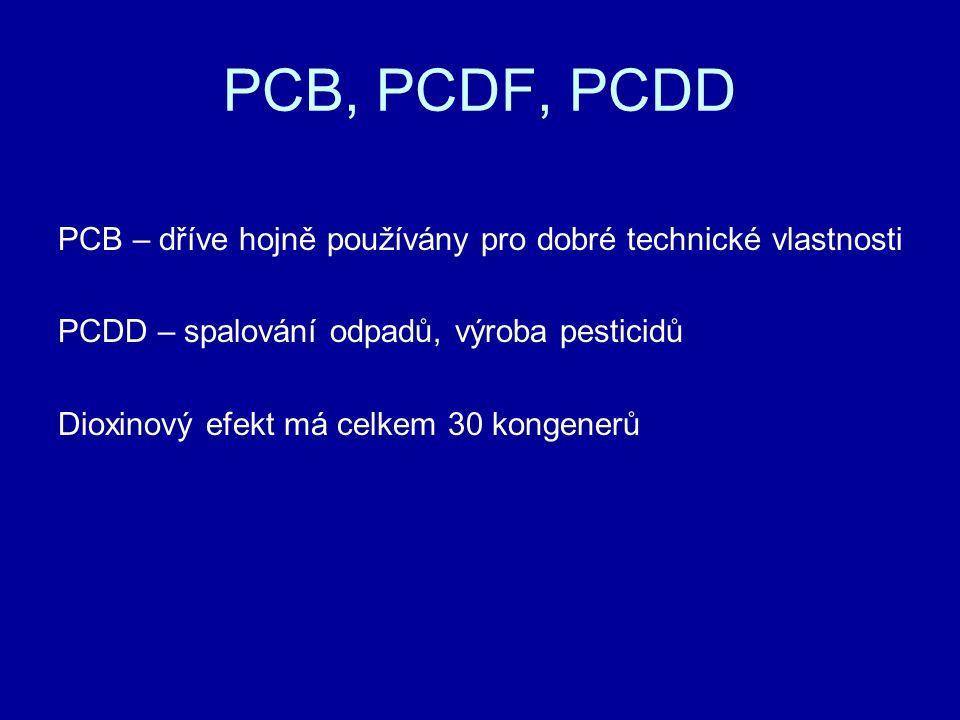 PCB, PCDF, PCDD PCB – dříve hojně používány pro dobré technické vlastnosti. PCDD – spalování odpadů, výroba pesticidů.