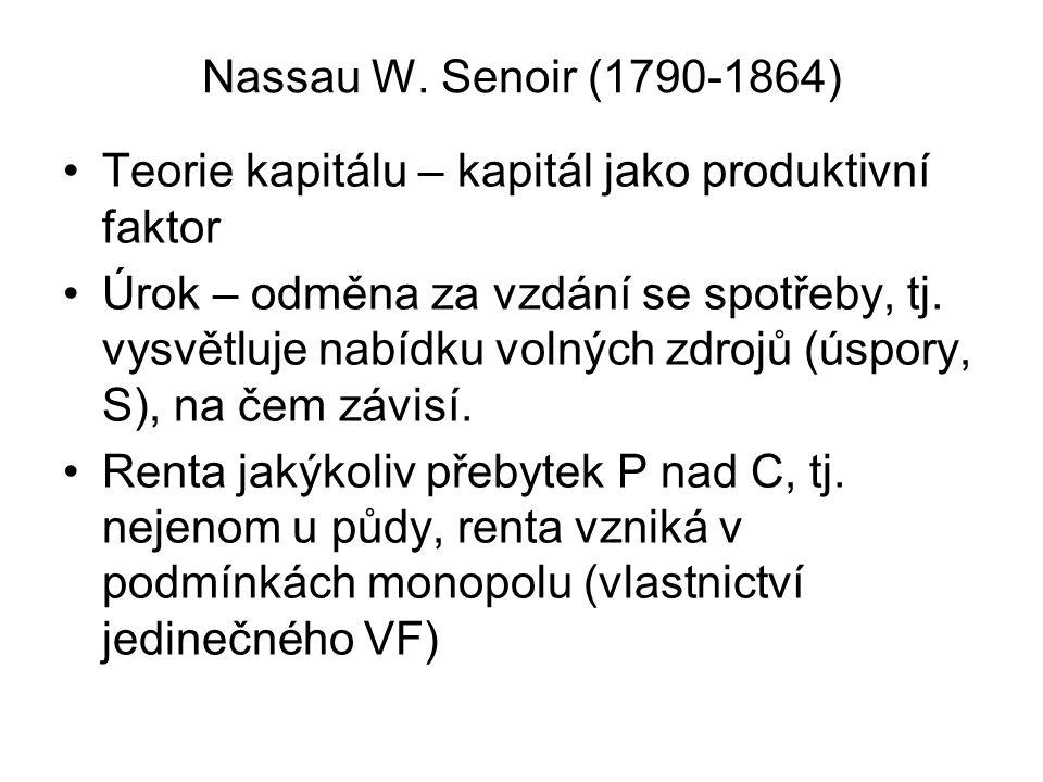 Nassau W. Senoir (1790-1864) Teorie kapitálu – kapitál jako produktivní faktor.