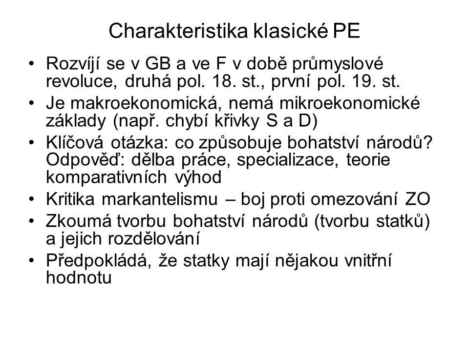 Charakteristika klasické PE