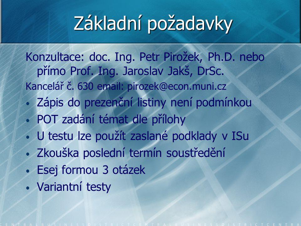 Základní požadavky Konzultace: doc. Ing. Petr Pirožek, Ph.D. nebo přímo Prof. Ing. Jaroslav Jakš, DrSc.