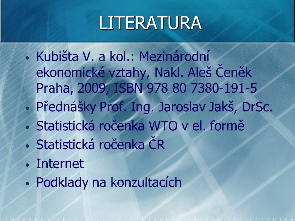LITERATURA Kubišta V. a kol.: Mezinárodní ekonomické vztahy, Nakl. Aleš Čeněk Praha, 2009, ISBN 978 80 7380-191-5.