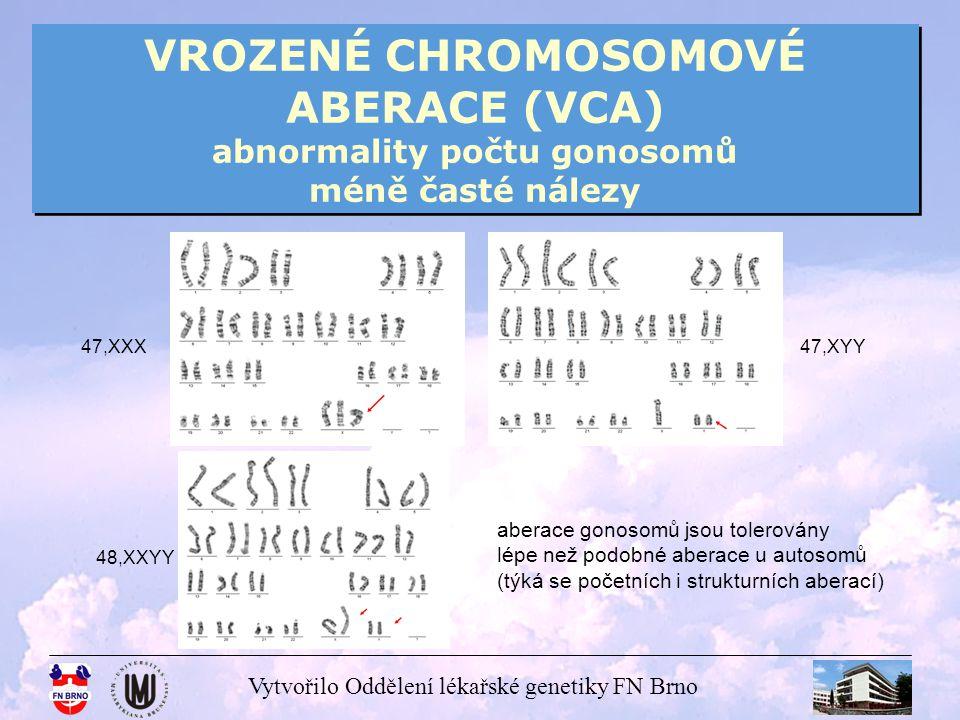 VROZENÉ CHROMOSOMOVÉ ABERACE (VCA) abnormality počtu gonosomů méně časté nálezy