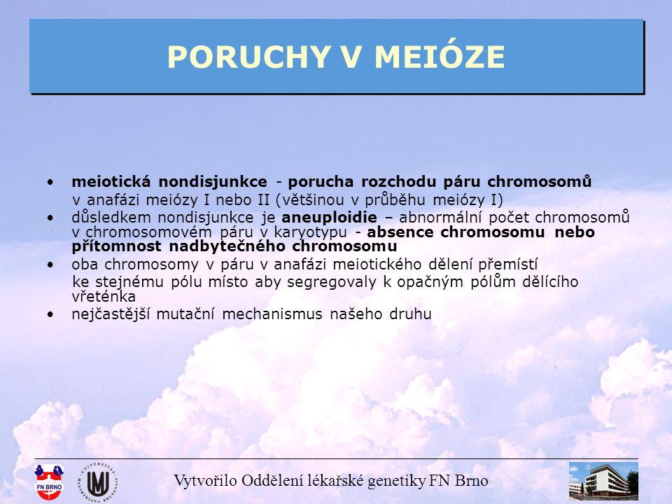 PORUCHY V MEIÓZE meiotická nondisjunkce - porucha rozchodu páru chromosomů. v anafázi meiózy I nebo II (většinou v průběhu meiózy I)