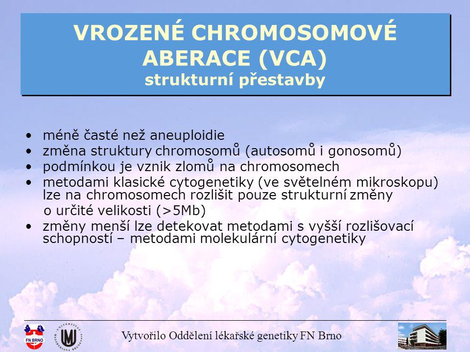 VROZENÉ CHROMOSOMOVÉ ABERACE (VCA) strukturní přestavby