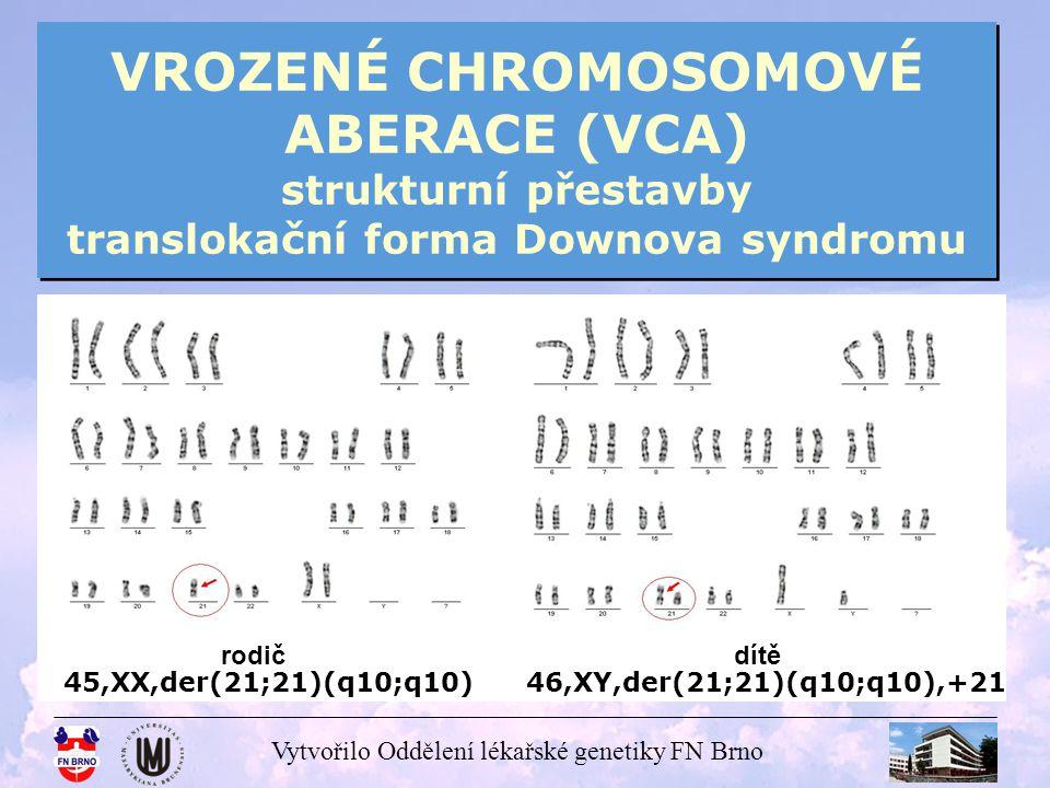 VROZENÉ CHROMOSOMOVÉ ABERACE (VCA) strukturní přestavby translokační forma Downova syndromu