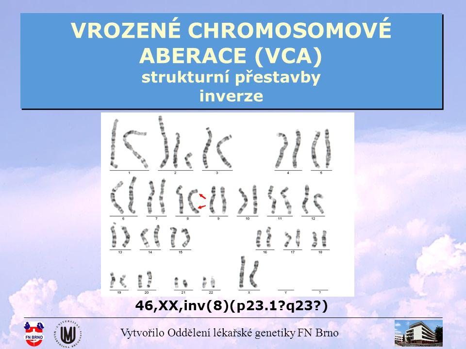 VROZENÉ CHROMOSOMOVÉ ABERACE (VCA) strukturní přestavby inverze