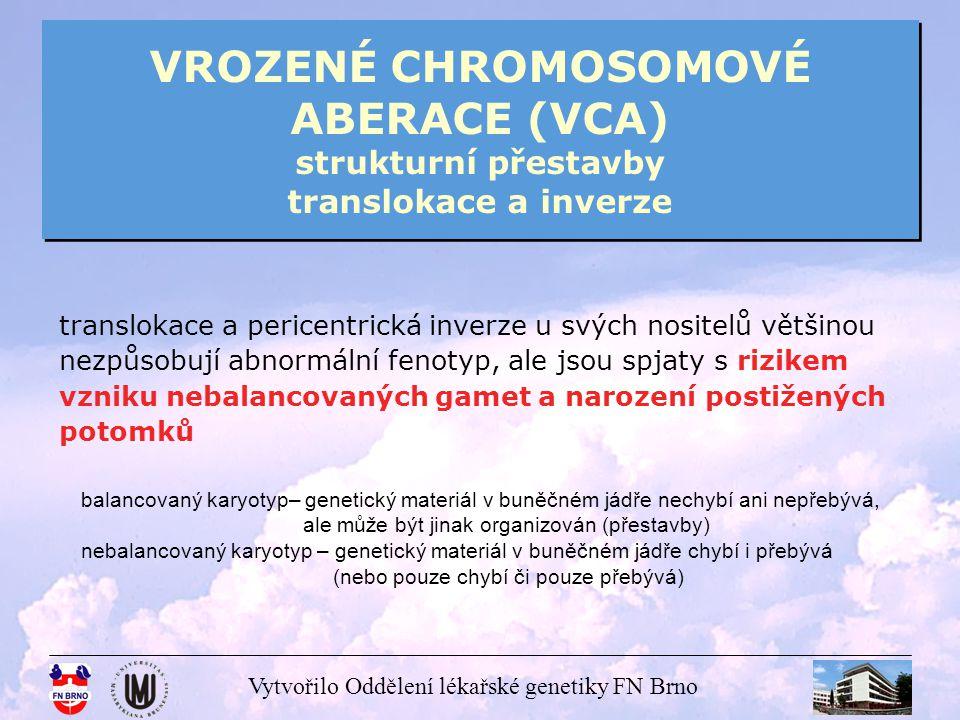 VROZENÉ CHROMOSOMOVÉ ABERACE (VCA) strukturní přestavby translokace a inverze
