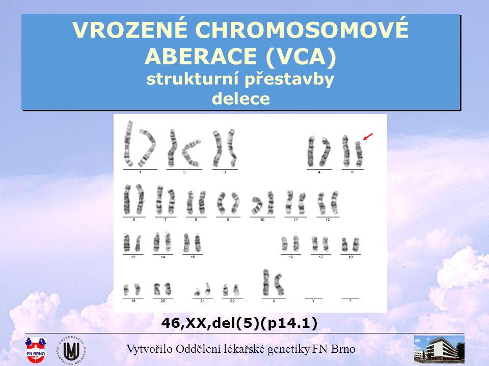 VROZENÉ CHROMOSOMOVÉ ABERACE (VCA) strukturní přestavby delece