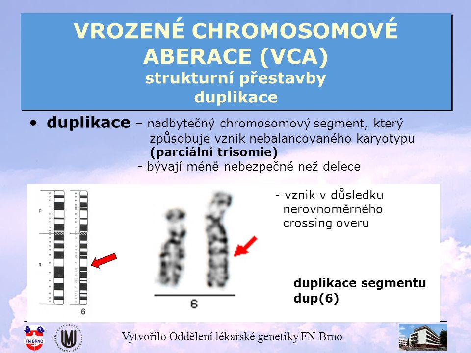 VROZENÉ CHROMOSOMOVÉ ABERACE (VCA) strukturní přestavby duplikace