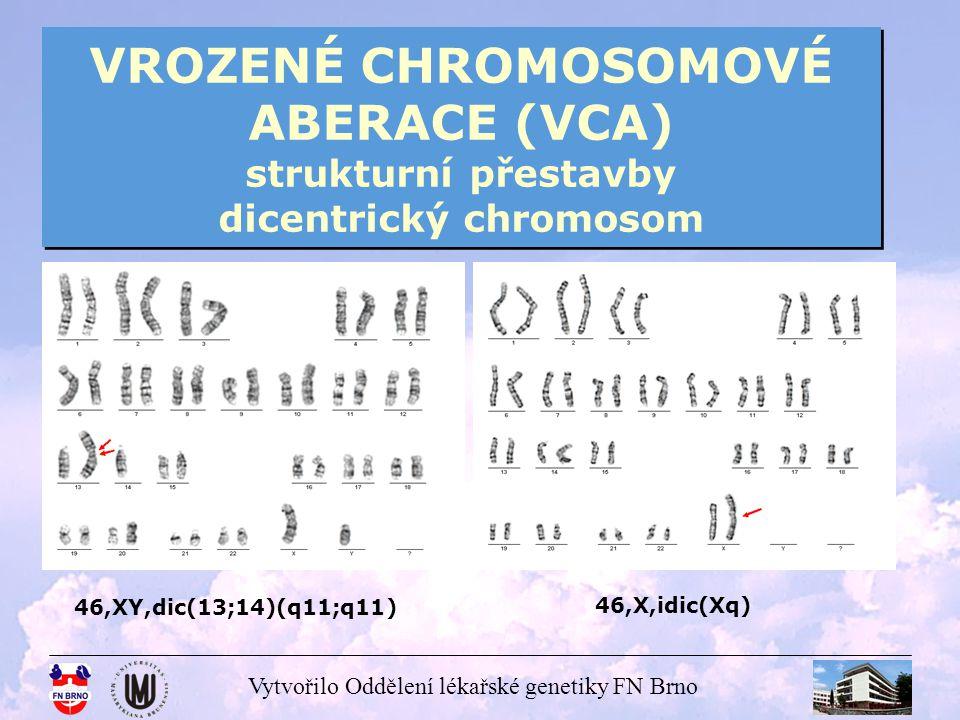 VROZENÉ CHROMOSOMOVÉ ABERACE (VCA) strukturní přestavby dicentrický chromosom