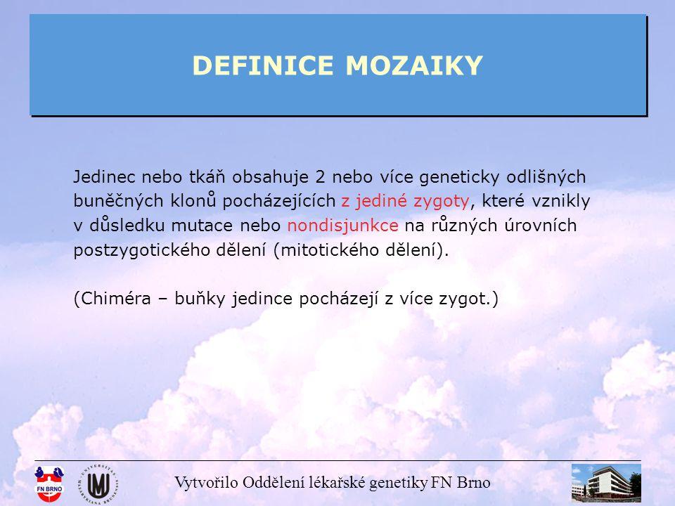 DEFINICE MOZAIKY Jedinec nebo tkáň obsahuje 2 nebo více geneticky odlišných. buněčných klonů pocházejících z jediné zygoty, které vznikly.