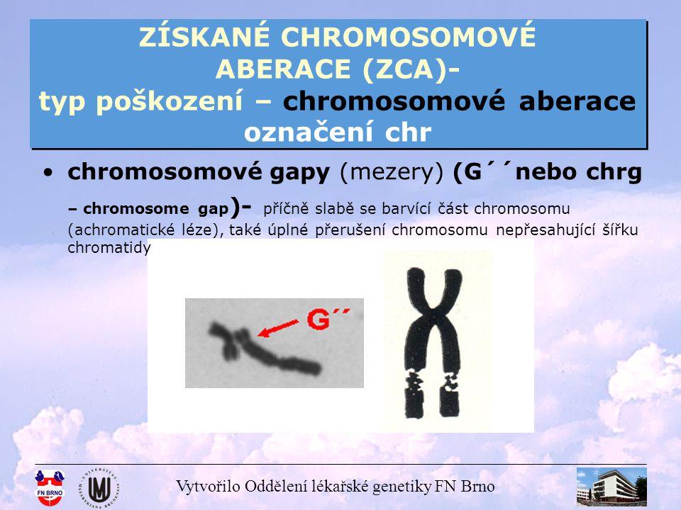 ZÍSKANÉ CHROMOSOMOVÉ ABERACE (ZCA)- typ poškození – chromosomové aberace označení chr
