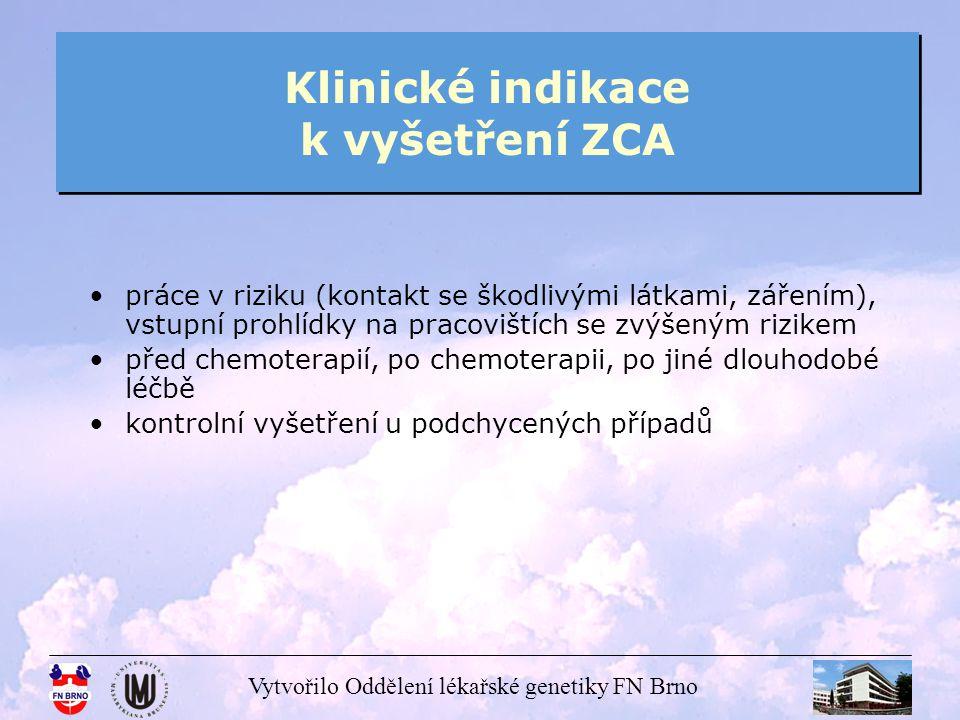 Klinické indikace k vyšetření ZCA